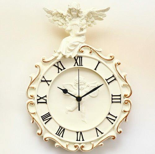 歐式時尚掛鐘創意田園超靜音家居裝飾品兒童房客廳臥室壁鐘