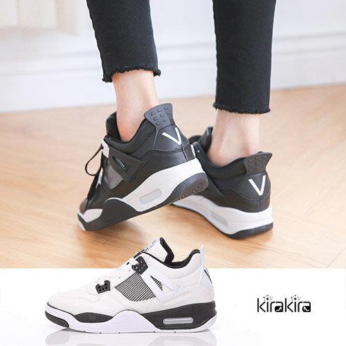 休閒鞋-皮製網格時尚氣墊綁帶休閒運動鞋-預購