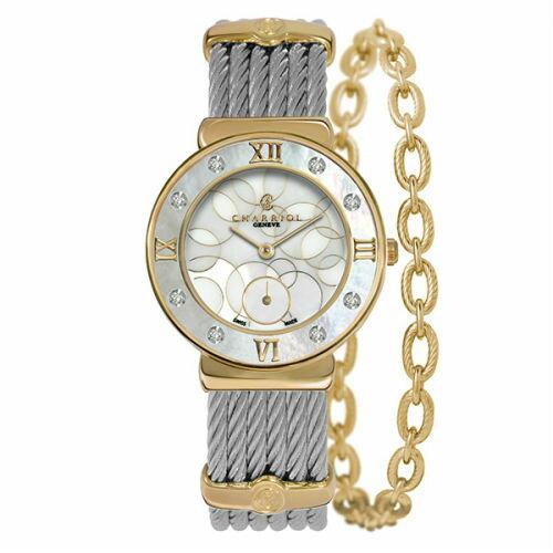 CHARRIOL夏利豪(ST30YD560029)真鑽香檳金經典鋼索腕錶環繞珍珠母貝面30mm