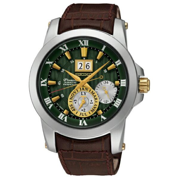 Seiko Premier 7D56-0AB0N(SNP127J1)人動電能萬年曆大視窗日期經典腕錶/綠面41mm