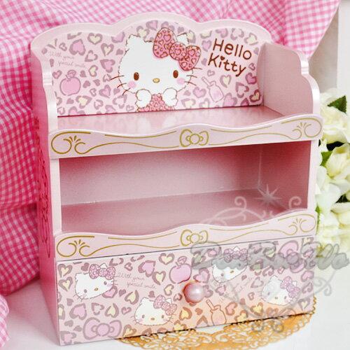 KITTY文具收納抽屜櫃小書櫃收納櫃木製三層粉豹紋限定932113 情人節禮物