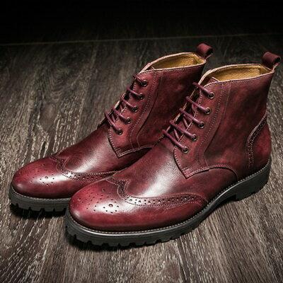 中筒靴真皮繫帶靴子-英倫復古巴洛克雕花男靴2色73kk28【獨家進口】【米蘭精品】