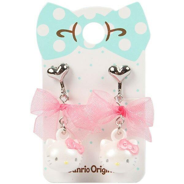 X射線【C110001】Hello Kitty 兒童耳環-臉,針式耳環/鋼製耳環/夾式耳環/純銀耳環