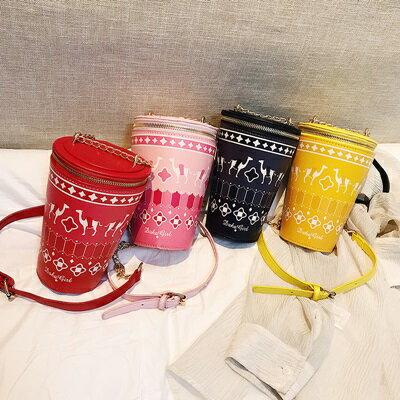 肩背包手拿鍊條包-可愛印花飲料杯造型女包包4色73fc457【獨家進口】【米蘭精品】 1