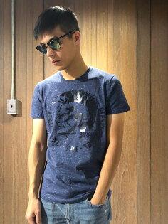 美國百分百【全新真品】DIESELT恤短袖上衣T-shirt經典LOGOTee復古雪花藍J140