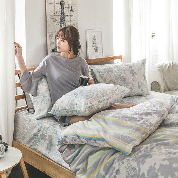 床包被套組雙人加大-100%精梳棉【AP迷草醉月-灰】60支精梳棉,含兩件枕套,戀家小舖,台灣製
