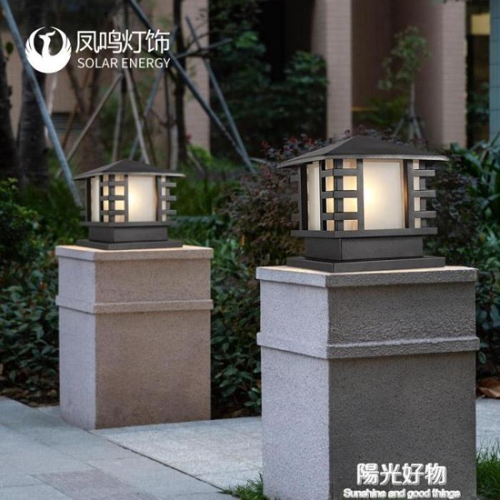 太陽能燈鳳鳴太陽能柱頭燈牆頭圍牆燈戶外防水門柱燈LED庭院別墅大門燈