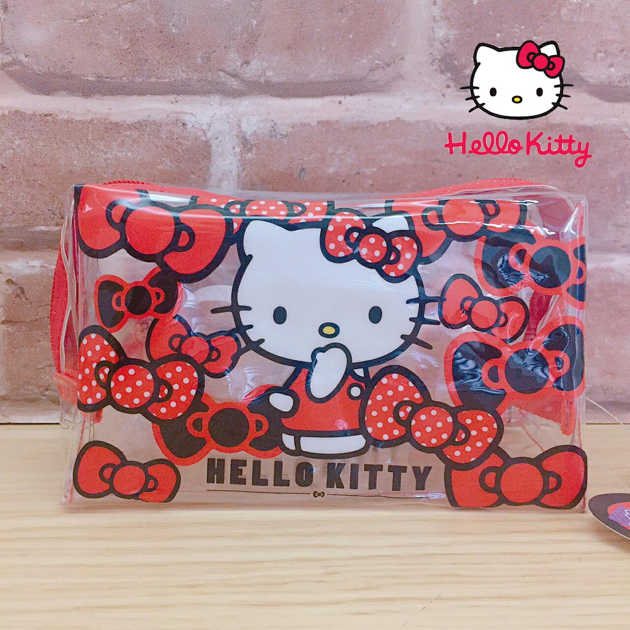 【真愛日本】17071400026 防水旅行化妝包組-KT蝴蝶結紅 三麗鷗 化妝包 收納包