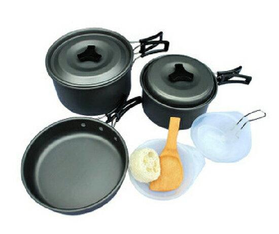 【露營趣】中和 TNR-123 2~3人 鋁合金鍋具 套鍋 露營鍋具 平底鍋 煎盤 湯鍋 炊具 非犀牛K-3