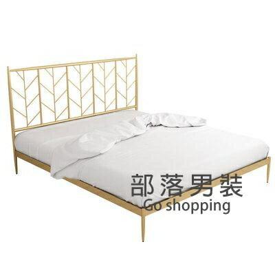 鐵藝床架 現代床簡約金色鐵藝床1.8米輕奢鐵床架雙人床1.5米北歐單人鐵架床T【年終尾牙 交換禮物】