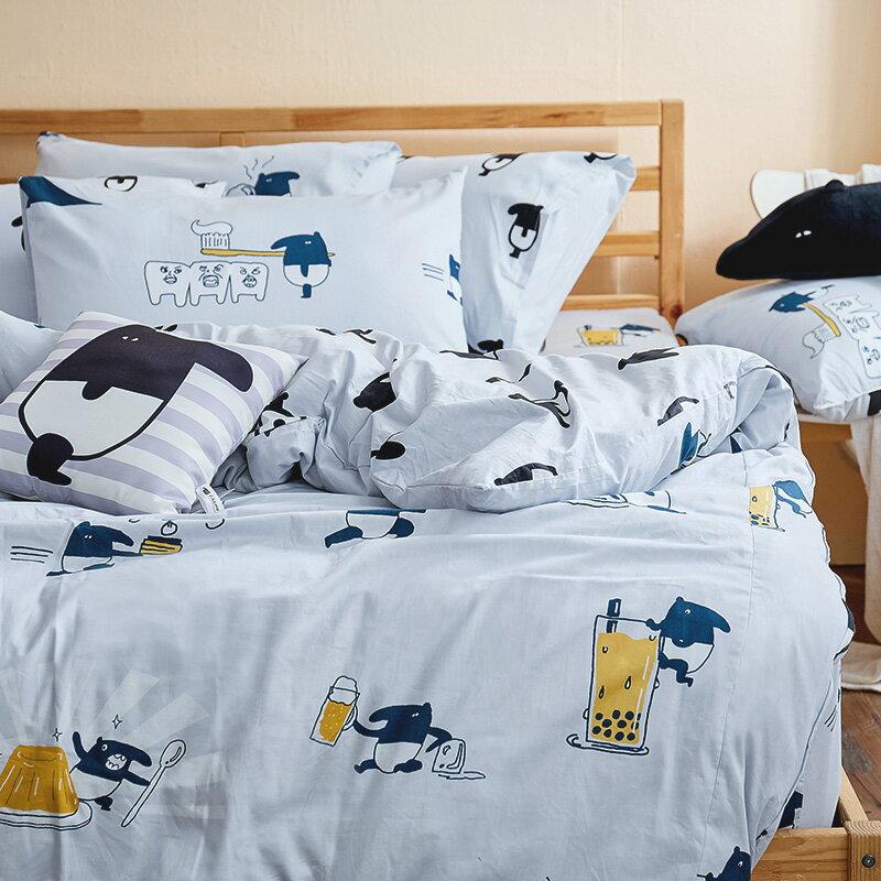 新品!床包  /  單人-100%精梳棉【馬來貘的悠閒時光】含一件枕套,獨家人氣插畫家聯名款,戀家小舖台灣製 2