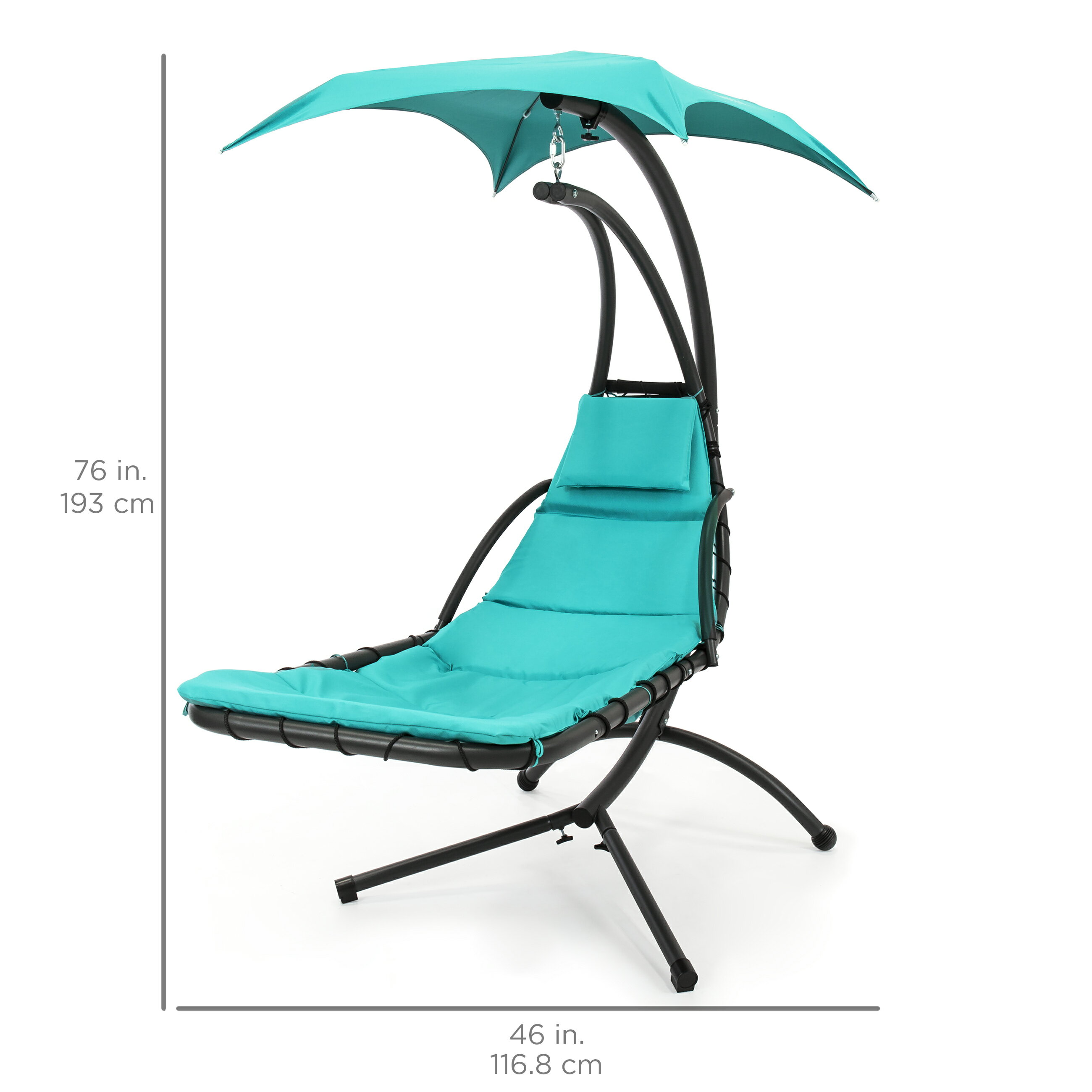 Best Choice Products Hanging Chaise Lounger Chair Arc Stand Air Porch Swing Hammock Chair Canopy (Teal) 4