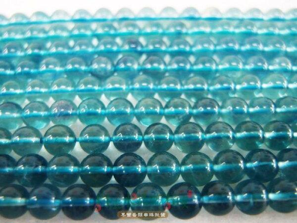 白法水晶礦石城奧地利天然3A(冷翡翠)-藍螢石6mm似帕拉伊巴顏色串珠條珠(團購區九折)-3條1標