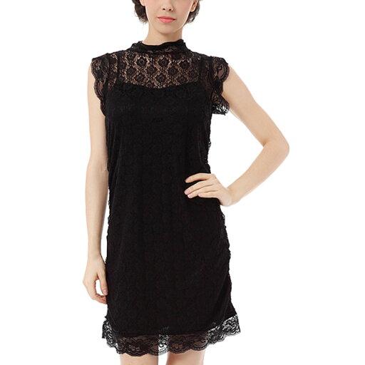 Unique Bargains Juniors Sexy Pullover Semi Sheer Tunic Black (Size M / 7) 92b34c4c2633688459c81d62309997c3