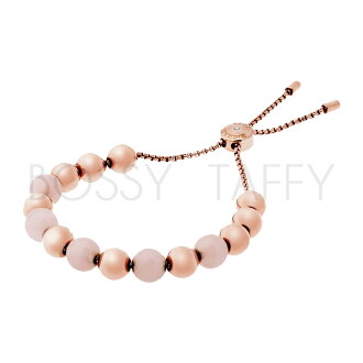 MICHAEL KORS 粉瑪瑙玫瑰金串珠可調式手鍊 MK Rose Gold-Tone Quartz Slider Bracelet