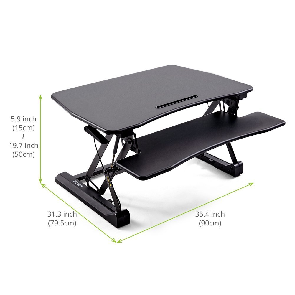 35 Wide Standing Desk Ikross Height Adjule Sit To Stand Up Computer Riser