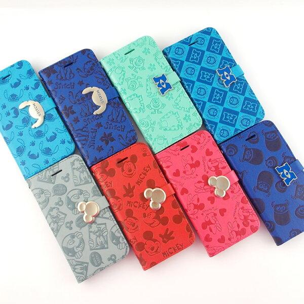 【Disney】iPhone66s時尚亂花壓紋五金可立式皮套