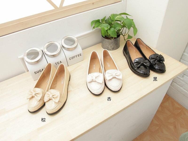 格子舖*【KA0621-11】韓風時尚 高品質皮面蝴蝶結平底 休閒鞋 包鞋 三色 1