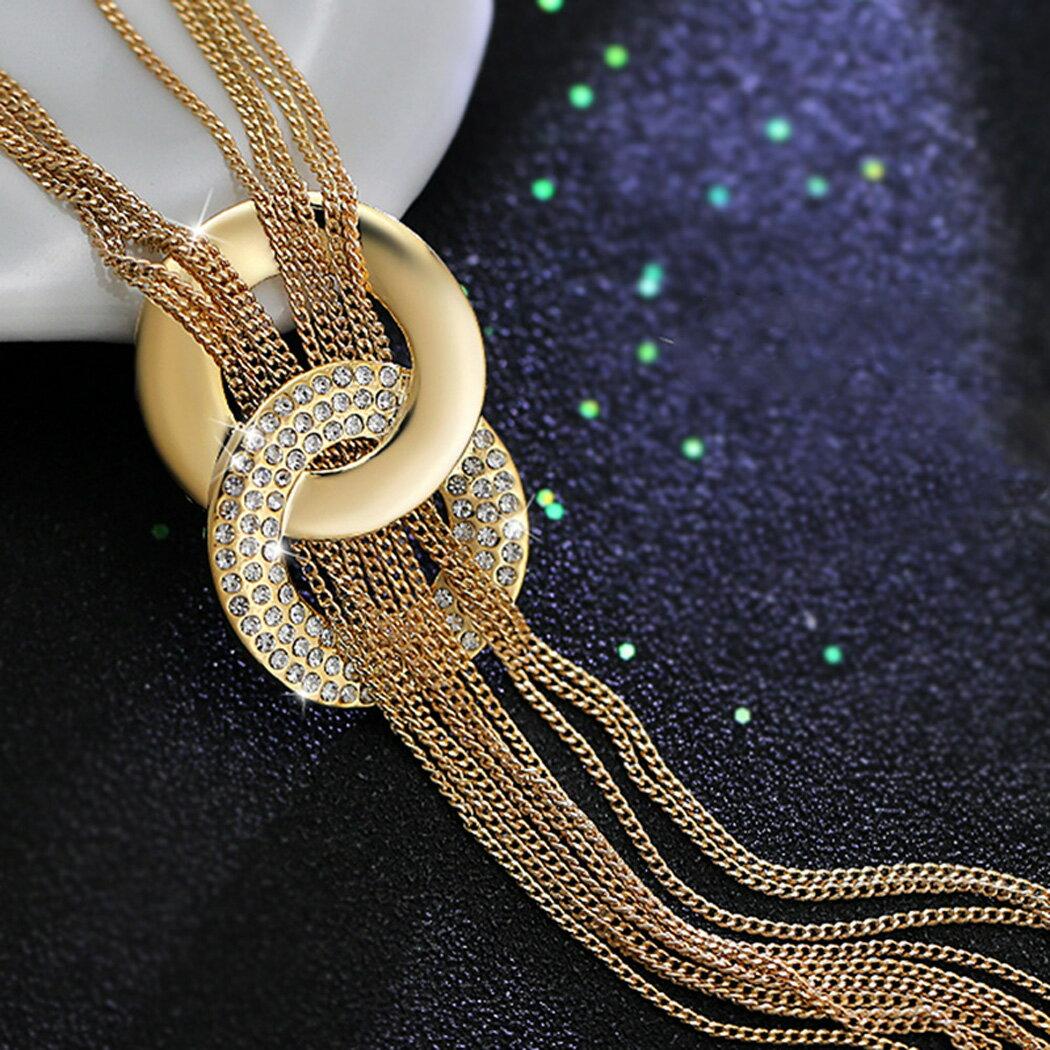 Rhinestone Metal Pendant Chain Statement Jewelry Necklace 1