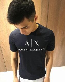 美國百分百【ArmaniExchange】T恤AX短袖logo上衣T-shirt深藍XSS號G050