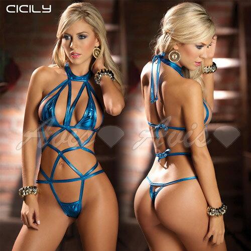 虐戀精品CICILY-自投羅網 連身式 美胸塗膠仿皮性感彈力 緊身膠衣-藍