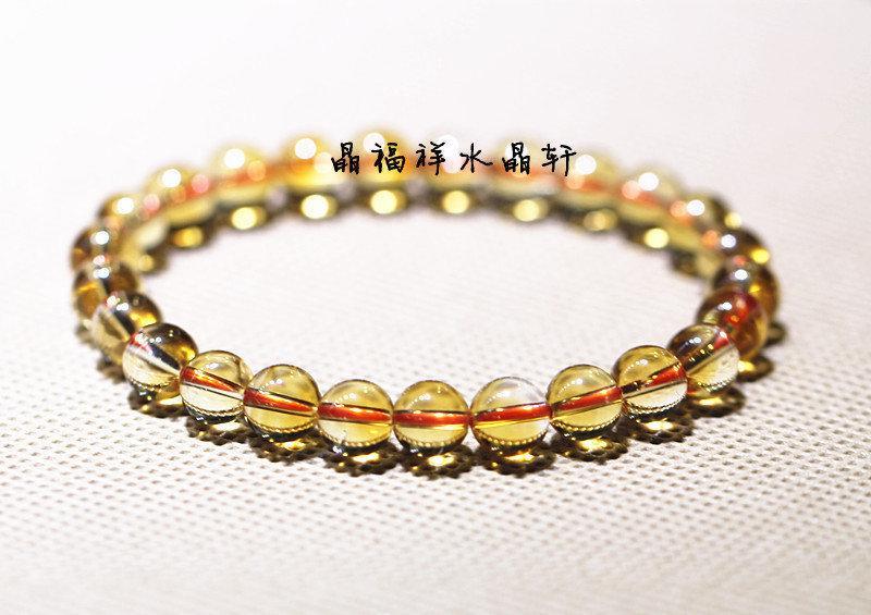 黃水晶手鏈 水晶手鏈6MM 男 女情侶