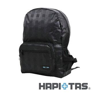 【日本暢銷 HAPI+TAS】黑色格紋 摺疊後背包 防潑水 收納方便 折疊小 (可登機 旅行 搭配拉桿)