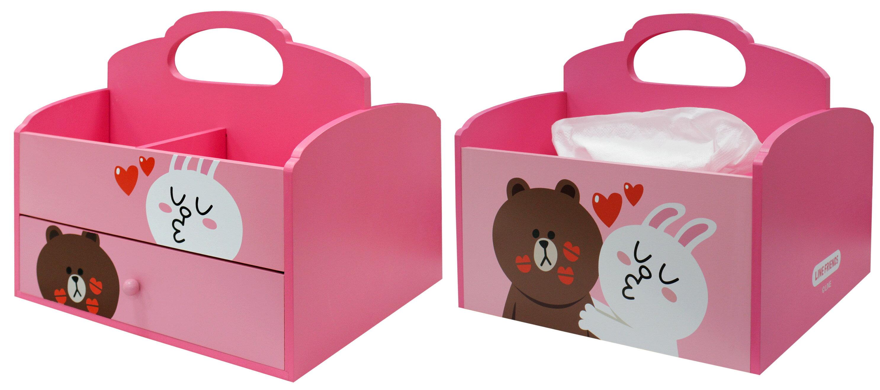 【真愛日本】15080400001手提面紙盒-熊大&兔兔 LINE公仔 饅頭人兔子熊大 面紙盒 面紙套