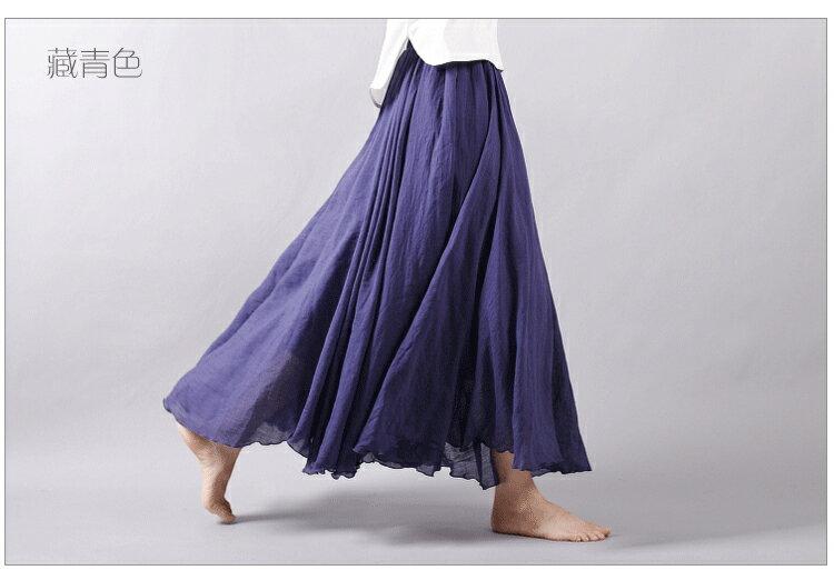 長裙 亞麻棉裙14色 超大裙擺長裙-95CM【LAC1725-95】 BOBI 9