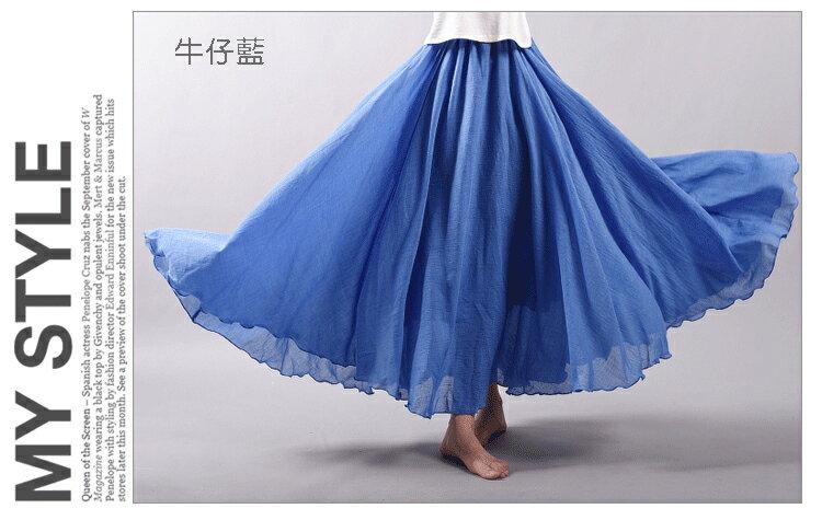 長裙 亞麻棉裙14色 超大裙擺長裙-95CM【LAC1725-95】 BOBI 3