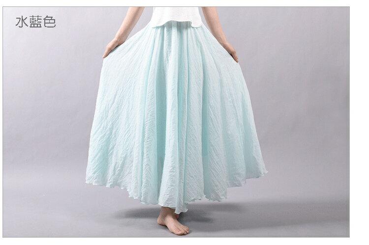 長裙 亞麻棉裙14色 超大裙擺長裙-95CM【LAC1725-95】 BOBI 5