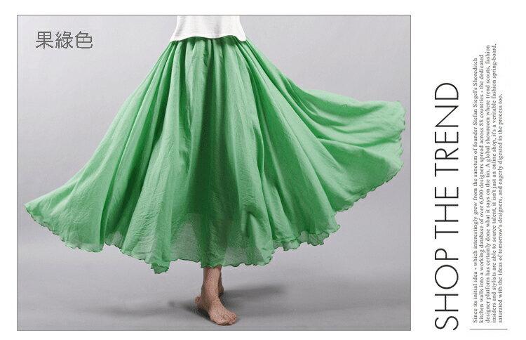 長裙 亞麻棉裙14色 超大裙擺長裙-95CM【LAC1725-95】 BOBI 6