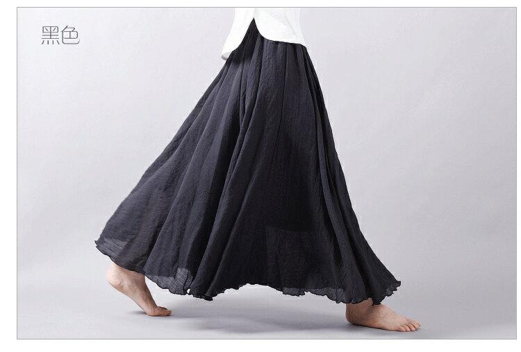 長裙 亞麻棉裙14色 超大裙擺長裙-95CM【LAC1725-95】 BOBI 7