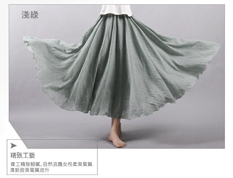 長裙 亞麻棉裙14色 超大裙擺長裙-95CM【LAC1725-95】 BOBI 8