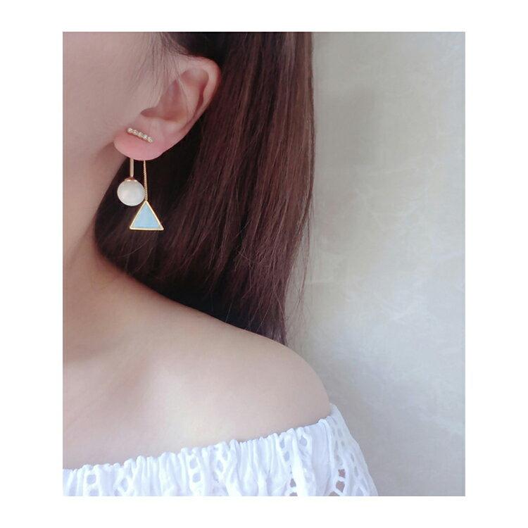 耳環 幾何 珠珠 後掛式 鑲鑽 耳環【DD1606077】 BOBI  04 / 20 2