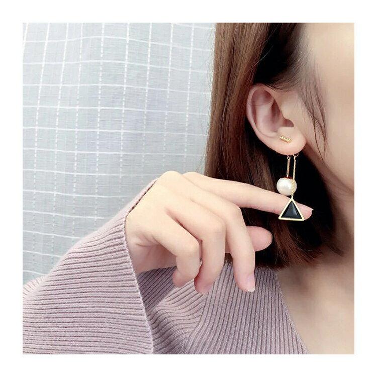 耳環 幾何 珠珠 後掛式 鑲鑽 耳環【DD1606077】 BOBI  04 / 20 3