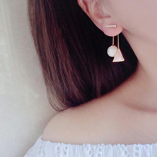 耳環 幾何 珠珠 後掛式 鑲鑽 耳環【DD1606077】 BOBI  04 / 20 0