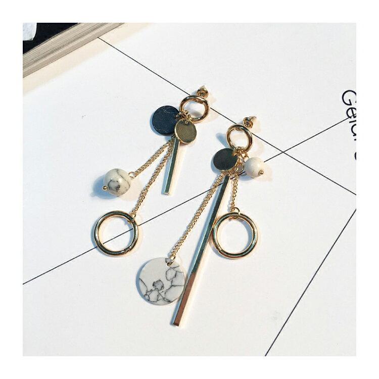 耳環 幾何 圓形 金屬 不對稱 垂墜 耳環【DD1612133】 BOBI  04 / 20 7