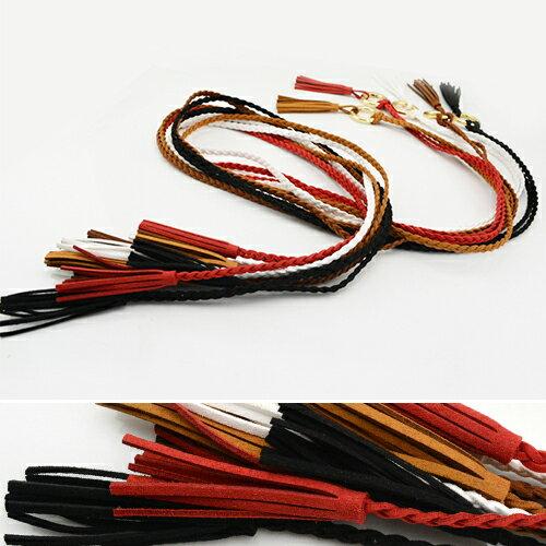腰繩皮帶 編織 流蘇 可拆卸 金屬環釦 腰繩 腰帶~FJS5~5~ BOBI 10  12