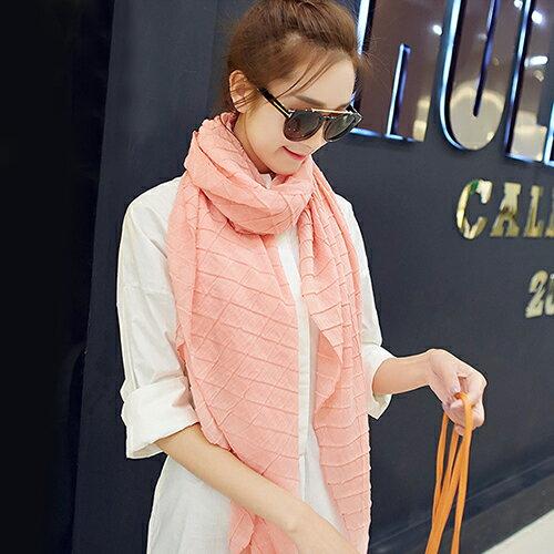 圍巾素色格紋皺褶壓紋棉百搭圍巾【Fzr1110】BOBI1019