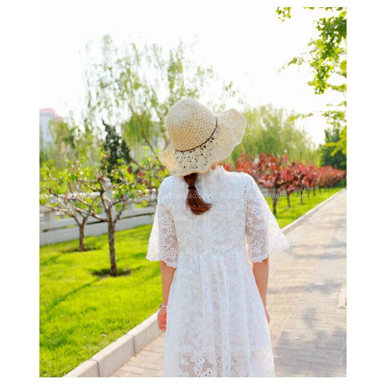 草帽 細繩 蝴蝶結 大帽沿 遮陽 沙灘 草帽【JDY0029】 BOBI  04 / 27 2