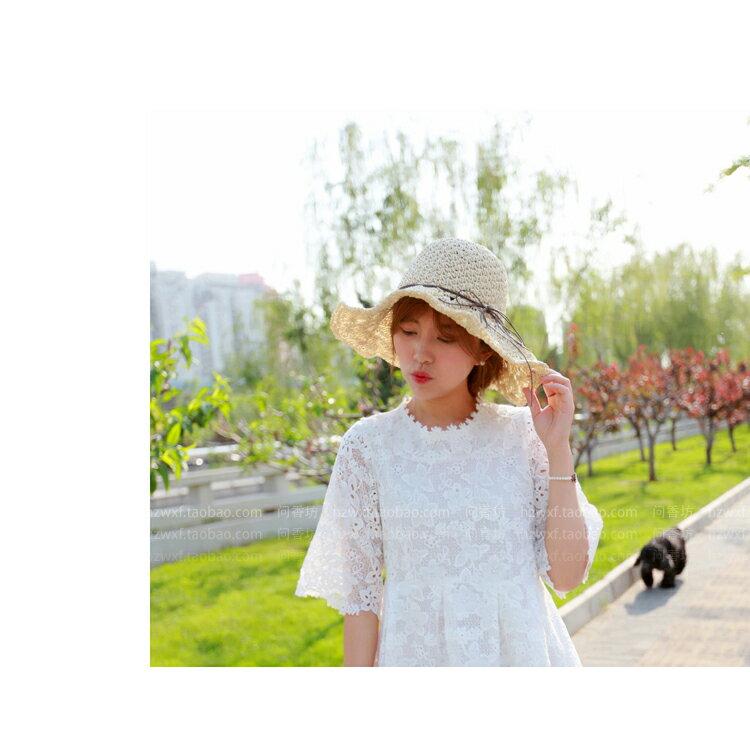 草帽 細繩 蝴蝶結 大帽沿 遮陽 沙灘 草帽【JDY0029】 BOBI  04 / 27 3