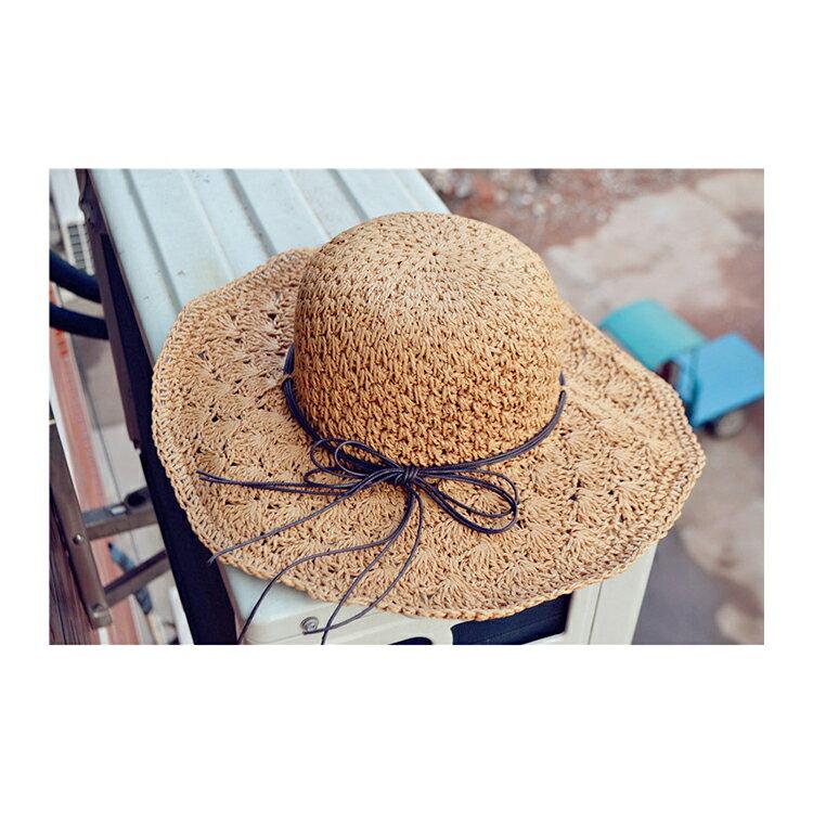 草帽 細繩 蝴蝶結 大帽沿 遮陽 沙灘 草帽【JDY0029】 BOBI  04 / 27 5