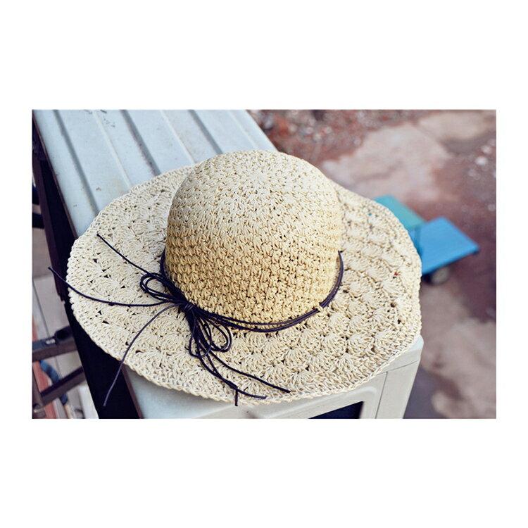 草帽 細繩 蝴蝶結 大帽沿 遮陽 沙灘 草帽【JDY0029】 BOBI  04 / 27 7