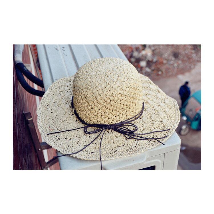 草帽 細繩 蝴蝶結 大帽沿 遮陽 沙灘 草帽【JDY0029】 BOBI  04 / 27 8