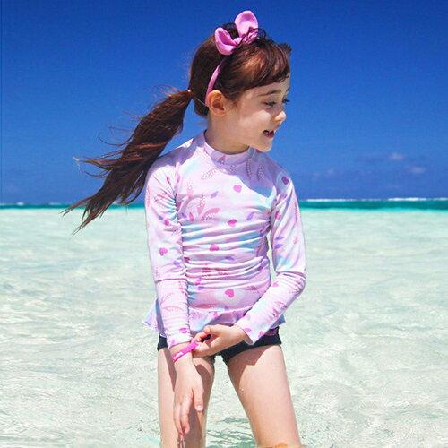 兒童泳衣 愛心 彩色 防曬 短褲 兩件式 長袖 兒童泳裝~SFC7104~ BOBI 7