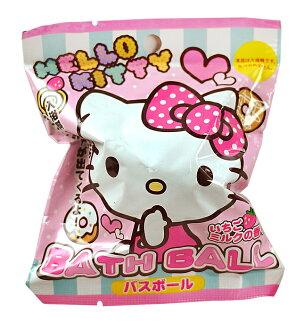 【買10送1可混搭】日本 SANTAN Hello Kitty 2彩色緞帶沐浴球 入浴球 85g 趣味浴玩 *夏日微風*