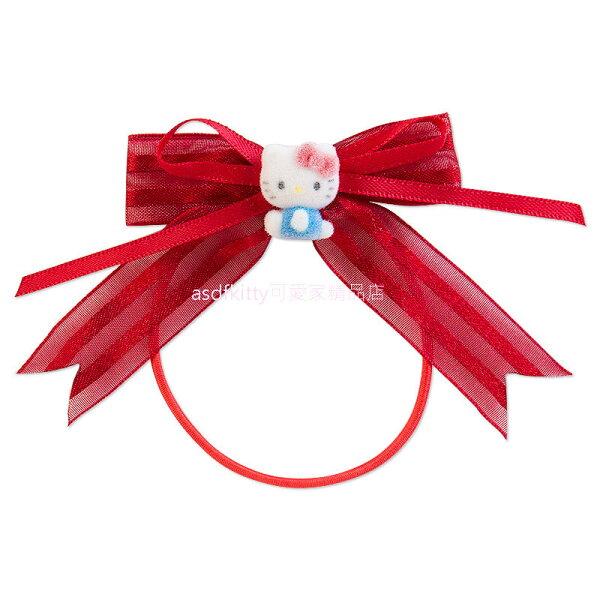 asdfkitty可愛家精品店:asdfkitty可愛家☆KITTY立體造型紅蝴蝶結彈力髮束髮飾髮圈-日本正版商品
