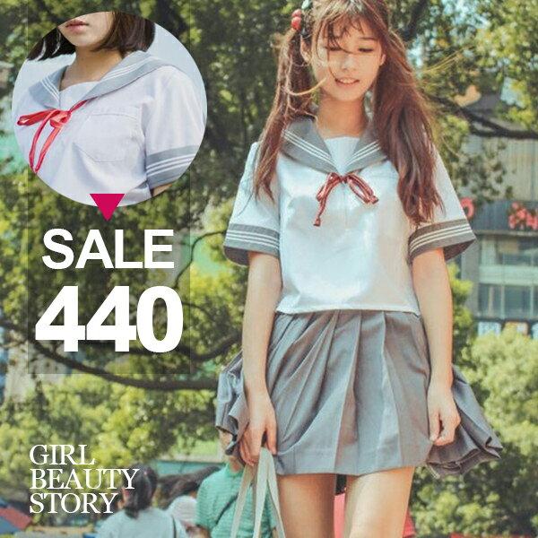 SISI【E6052】蘿莉海軍學院風制服日本水手服短袖上衣+百褶學生短裙套裝