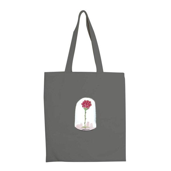 【小王子經典版】彩色手提購物包-玻璃罩裡的玫瑰花(鐵灰)